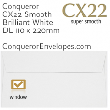 CX22 Brilliant White DL-110x220mm Window Envelopes