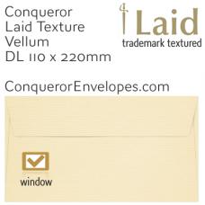 Laid Vellum DL-110x220mm Window Envelopes