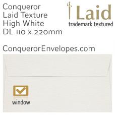 Laid High White DL-110x220mm Window Envelopes