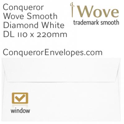 Wove Diamond White Window DL-110x220mm Envelopes