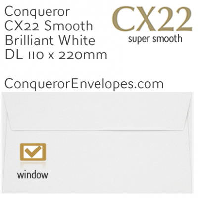 CX22 Brilliant White DL-110x220mm Window Envelopes