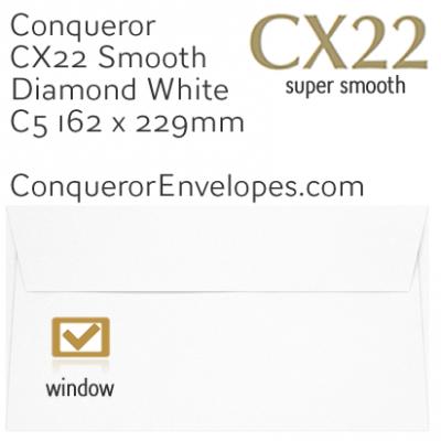 CX22 Diamond White C5-162x229mm Window Envelopes