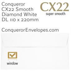 CX22 Diamond White DL-110x220mm Window Envelopes
