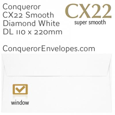 CX22 Diamond White DL-110x220mm Window Envelopes