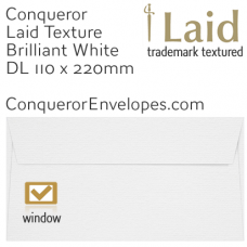 Laid Brilliant White Window DL-110x220mm Envelopes