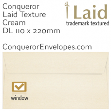 Laid Cream DL-110x220mm Window Envelopes