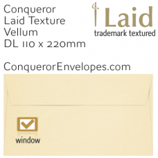 Laid Vellum DL-110x220mm Window Envelopes