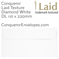 Laid Diamond White DL-110x220mm Envelopes