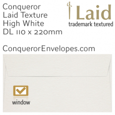 Laid High White DL-110x220mm Window Envelopes